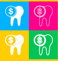 The cost of tooth treatment sign four styles of vector