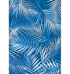 Tropical blue palm leaves in white and blue vector image