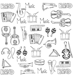 Many element music tools doodles vector