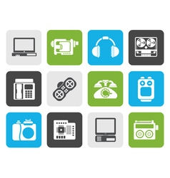 Flat electronics media and technical equipment vector