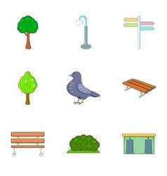 Urban outdoor decor icons set cartoon style vector