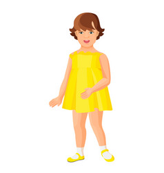 Young kindergarten girl in yellow dress isolated vector