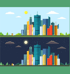 Flat style modern design of day and night urban vector
