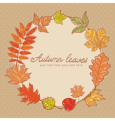 Autumn leaves colorful greeting card vector