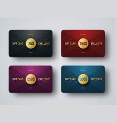 Templates of premium gift cards with a golden vector