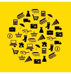 Shopping icons in circle vector