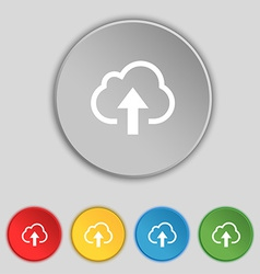 Upload from cloud icon sign symbol on five flat vector