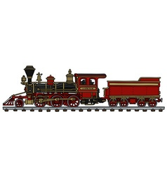 Old red american steam locomotive vector