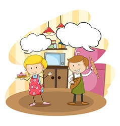 Bakers baking in the kitchen vector