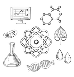 Biology and chemistry sketch icons vector