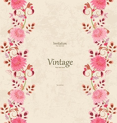 Vintage invitation card with seamless floral vector