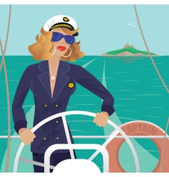 Sea captain female on the deck with ships steering vector