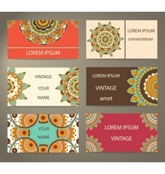 Set business cards with decorative flowers vector image