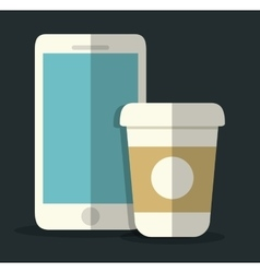 Smartphone and mug icon office instrument design vector