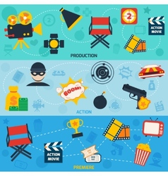 Action movie line banners vector image