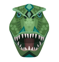angry t-rex raptor head logo decorative vector image