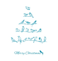 Christmas Card - Birds on Christmas Tree vector image