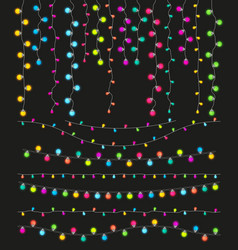 colorful light lamps garlands set for christmas vector image