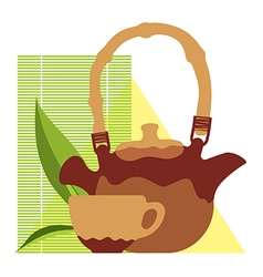 Craft teacup and kettle vector