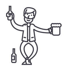 drunk man line icon sign on vector image
