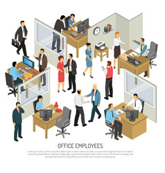 Employees in office design concept vector