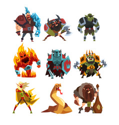 Fantasy creatures and humans orc warrior in vector