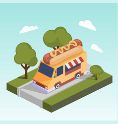 fast food motorhome with hot dog isometric vector image