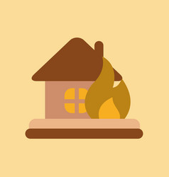 Flat icon on stylish background fire house vector
