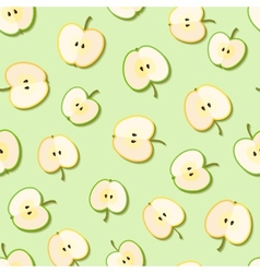 Fresh green organic apples seamless pattern vector