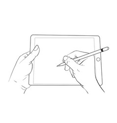 hand draw on tablet vector image vector image