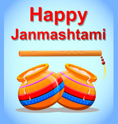 happy krishna janmashtami greeting post card easy vector image
