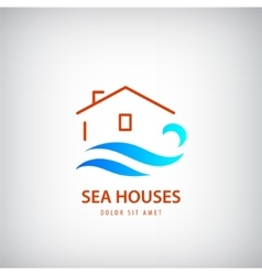 House logo with blue wave rent near sea vector