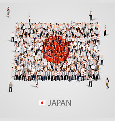 Large group of people in the japan flag shape vector