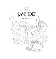 Lavender Natural Product Hand Drawn Realistic vector image