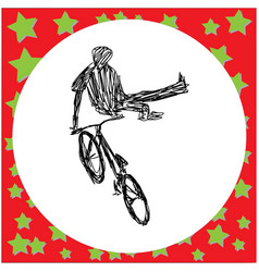 Man jumping on bmx bike silhouette vector