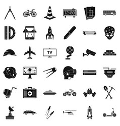 management icons set simple style vector image