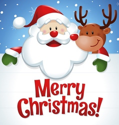 Merry Christmas Santa Claus and reindeer in blue vector image vector image