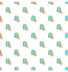Mobile phone in hand pattern cartoon style vector