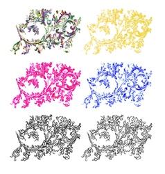 Ornaments filigree floral pattern vintage set five vector image