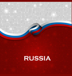 Russia flag ribbon shiny particle style vector