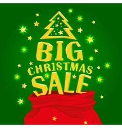 Santa claus bag with big christmas sale vector