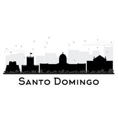 Santo domingo city skyline black and white vector