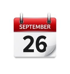 September 26 flat daily calendar icon vector