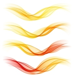 Set of abstract orange waves vector image