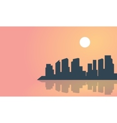 Silhouette of town and reflection landscape vector