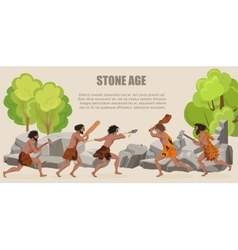 Stone age war primitive men tribes fighting vector