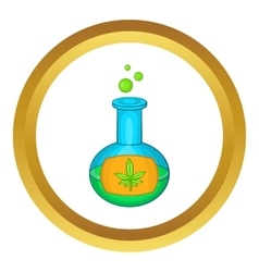 Test tube with marijuana leaf icon vector