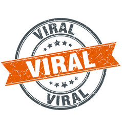 Viral round grunge ribbon stamp vector