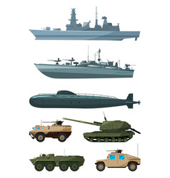 Warships and armored vehicles of land forces vector