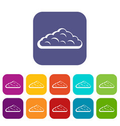 Wet cloud icons set flat vector